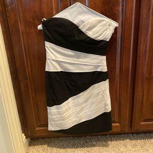 Asymmetrical striped BCBG mini strapless dress